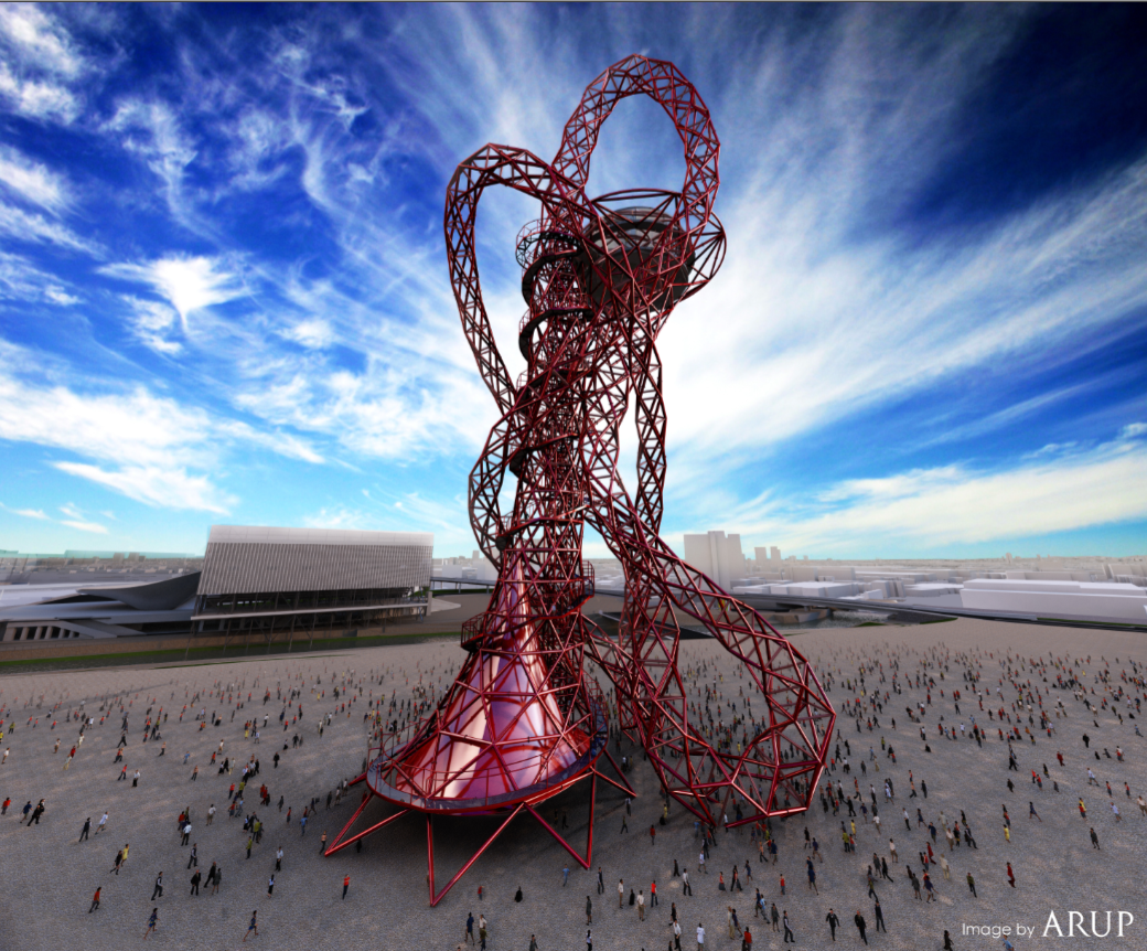 "Anish Kapoor,  ""Orbit"" viewing tower for the 2012 London Olympic Park (simulation). It will be the largest public art work in the UK"