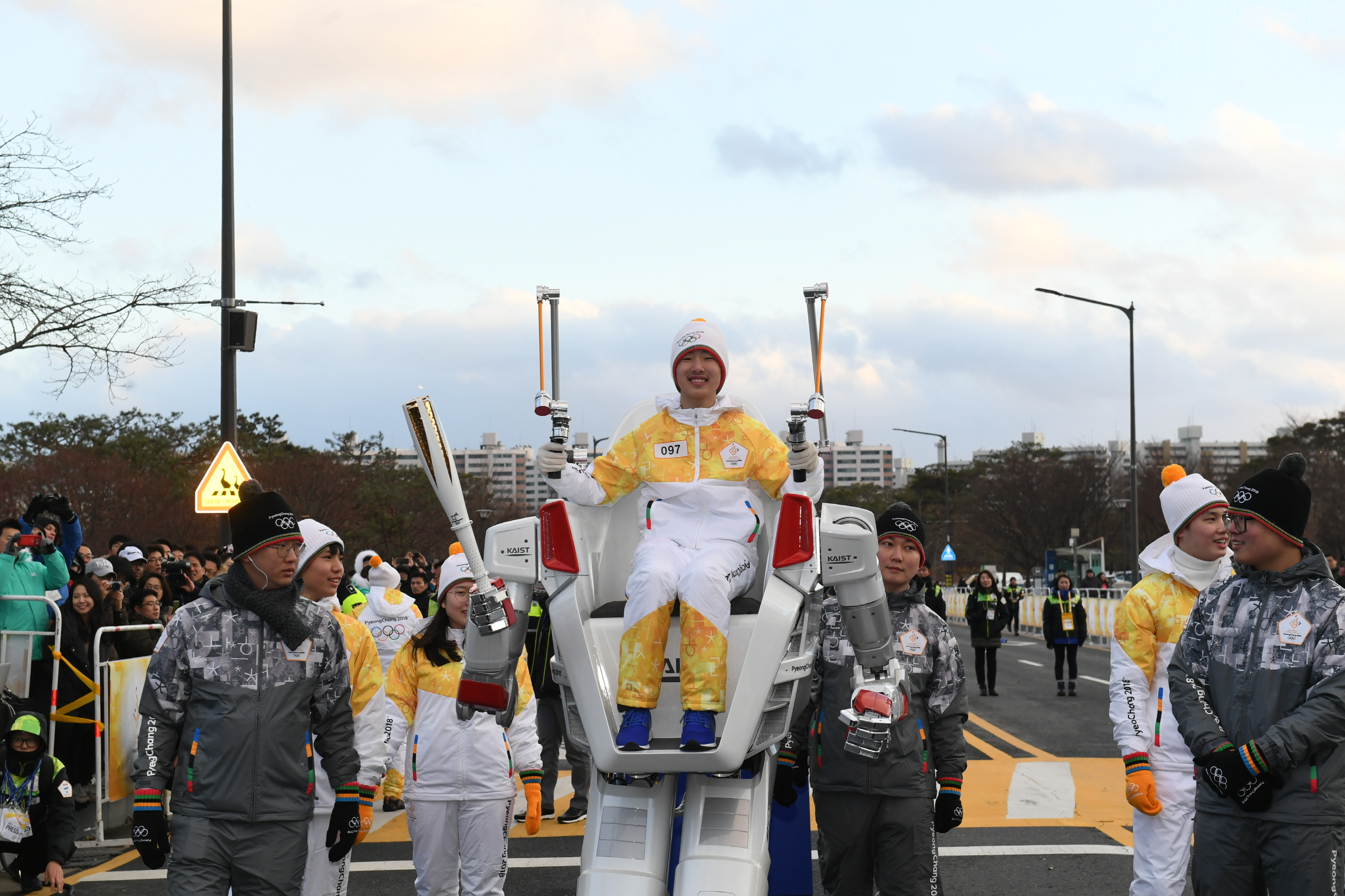 Robot HUBO carries PyeongChang 2018 Olympic Flame