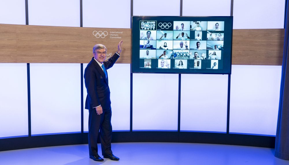 IOC President Thomas Bach introduces the Tokyo 2020 Olympic Refugee Team